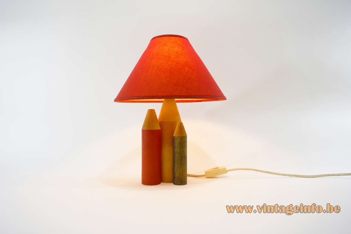 1960s 3 pencils table lamp red green yellow wood conical red fabric lampshade WL label A/S Elektrokontakt switch MCM Norway