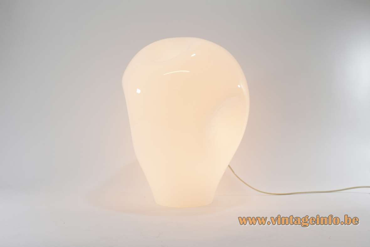1970s dimpled balloon murano table lamp white opal and clear glass deflated Luciano Vistosi style E27 socket MCM 1960s