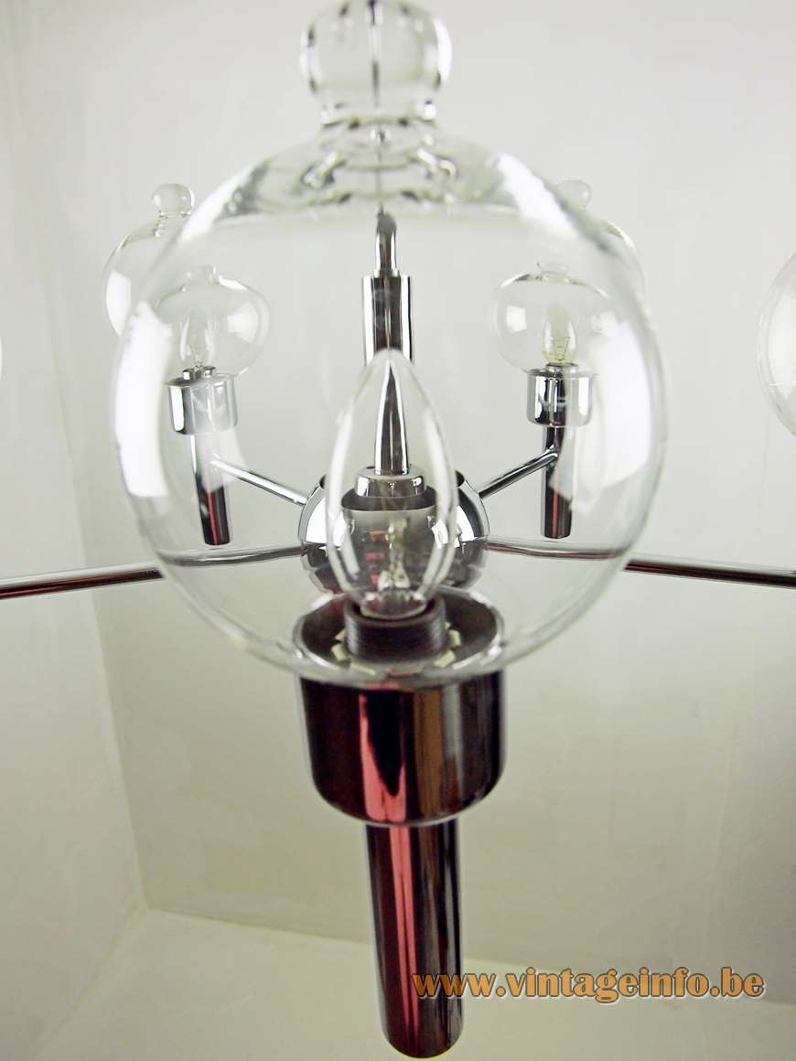 1970s Florentine glass droplet chandelier chrome Targetti Sankey Firenze Italy 1960s 1970s Mid-Century Modern MCM