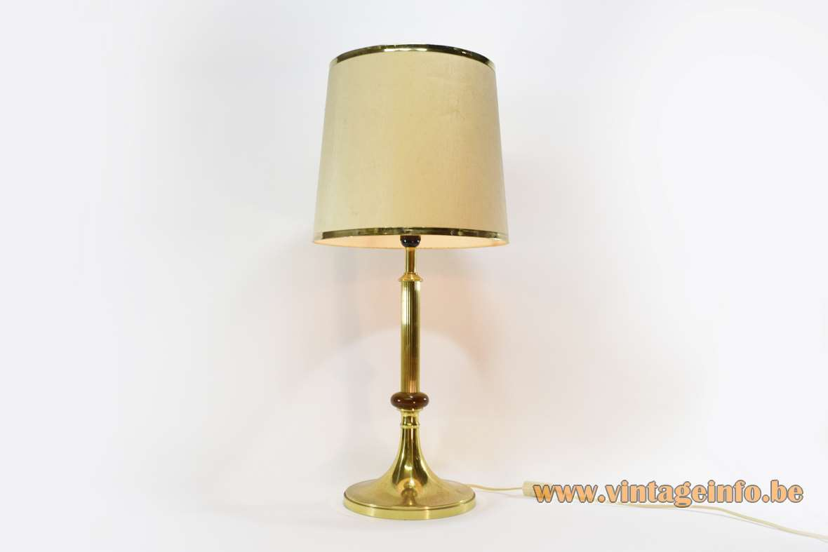 1970s Massive Belgium brass table lamp classic round base ribbed rod fabric lampshade mass. max. 60 W.