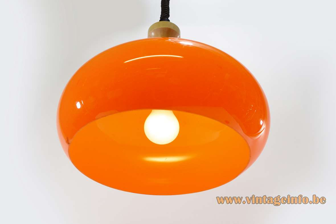 1970s orange acrylic rise & fall pendant lamp mushroom lampshade Zonca International Spa Italy MCM
