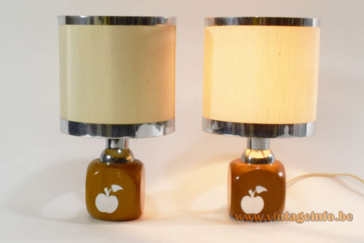 1970s Stilfer apple table lamp square beech wood round plastic lampshade aluminium rings Milan Italy Mid-Century Modern