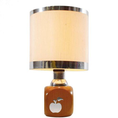 1970s Stilfer apple table lamp square beech wood round plastic lampshade aluminium rings Milan Italy Mid-Century Modern