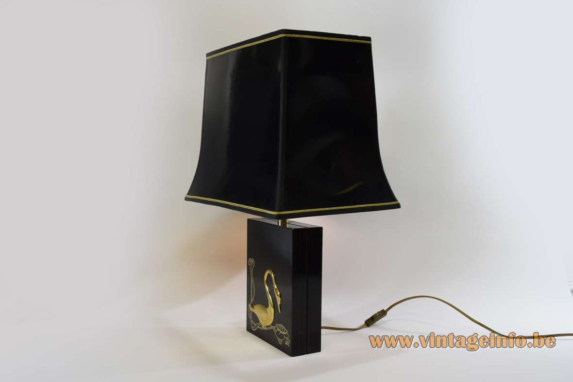 1980s gold swan table lamp rectangular beam black wood base pagoda lampshade kitsch Massive Belgium