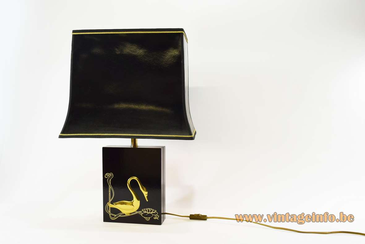 1980s Gold Swan Table Lamp