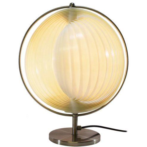1980s Lamella Moon table lamp chrome base with adjustable white plastic slats Verner Panton 1970s