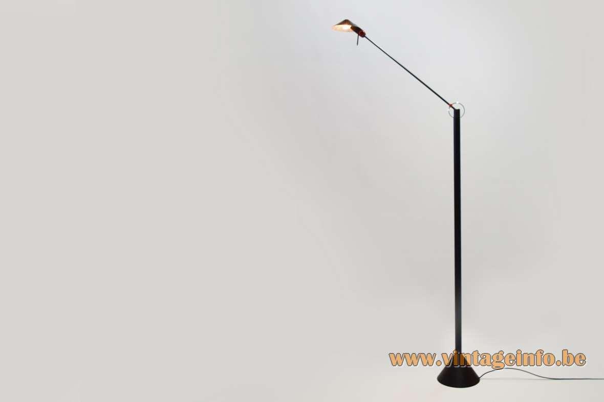 1980s Memphis style floor lamp Heico Linke Plewa Design 1980s halogen black metal conical round base