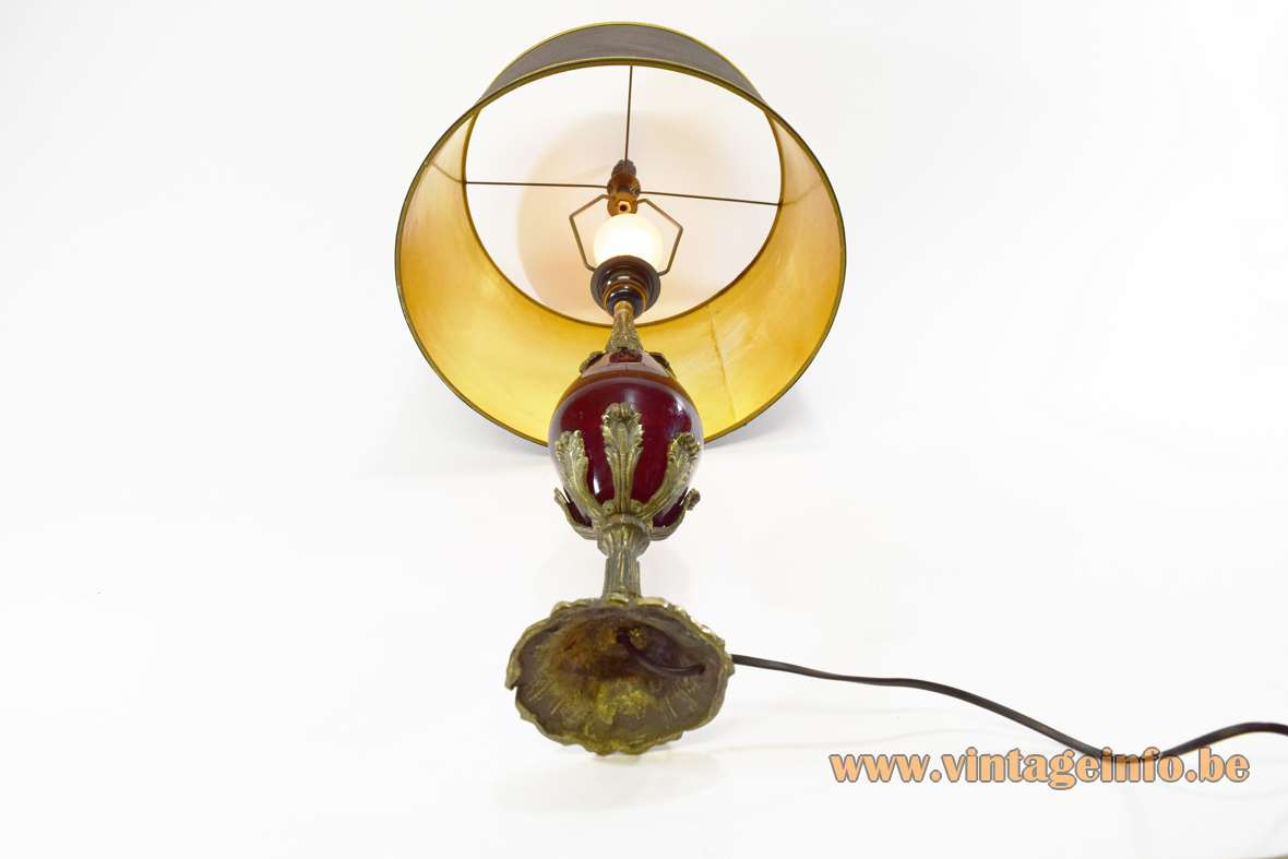 1990s Art Nouveau table lamp moulded brass ostrich egg maroon glass globe fabric lampshade Jugendstil