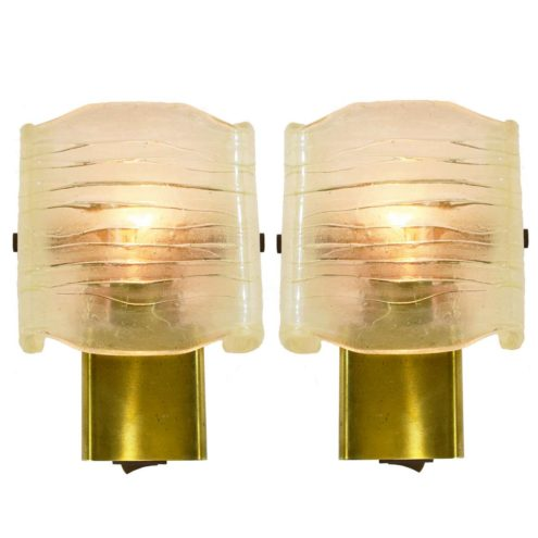 Aro Leuchte 1970s acrylic & brass wall lamps Perspex plastic faux ice glass MCM Mid-Century Modern Germany