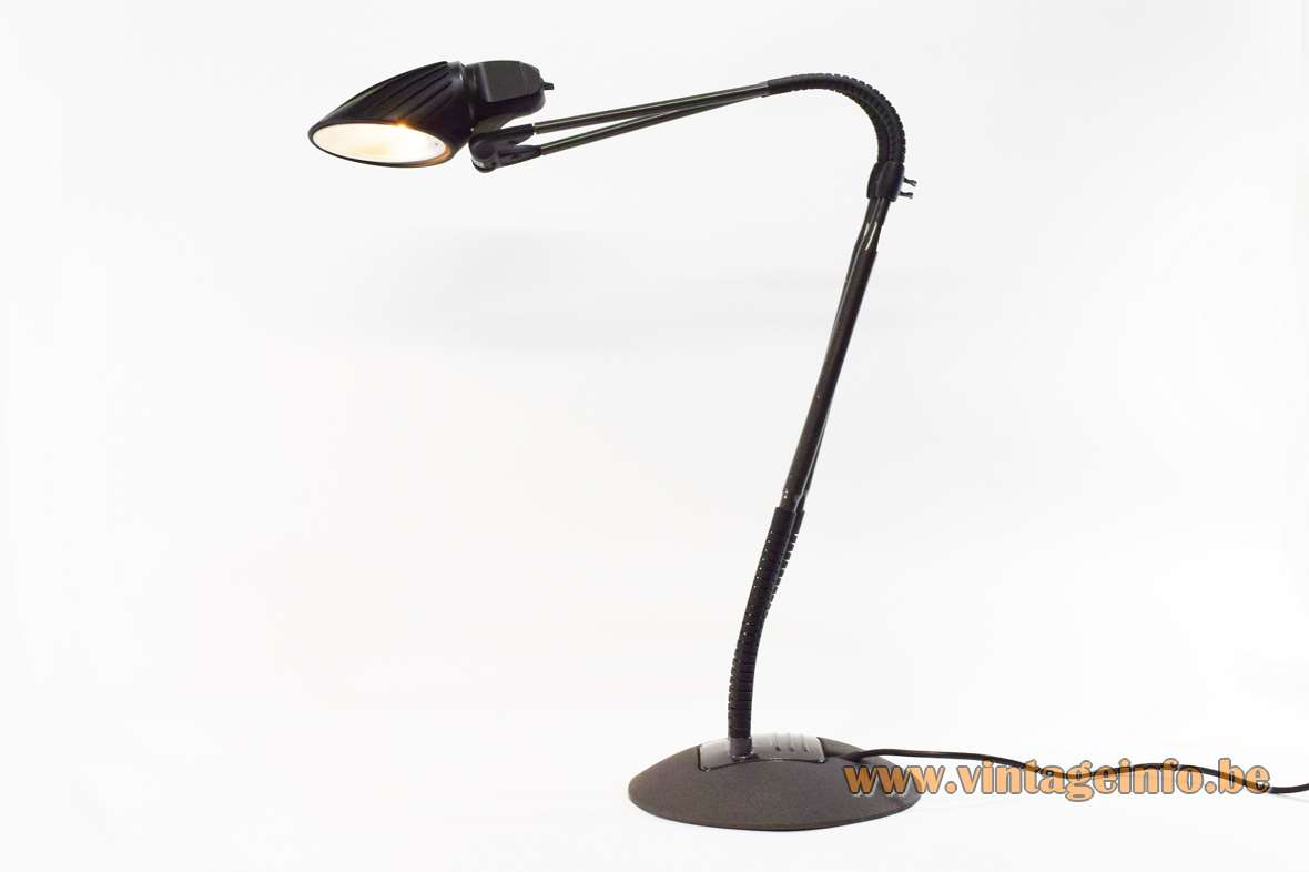 Arteluce Tango desk lamp design: Stephan Copeland black cast iron base plastic flexible rubber 1980s 1990s