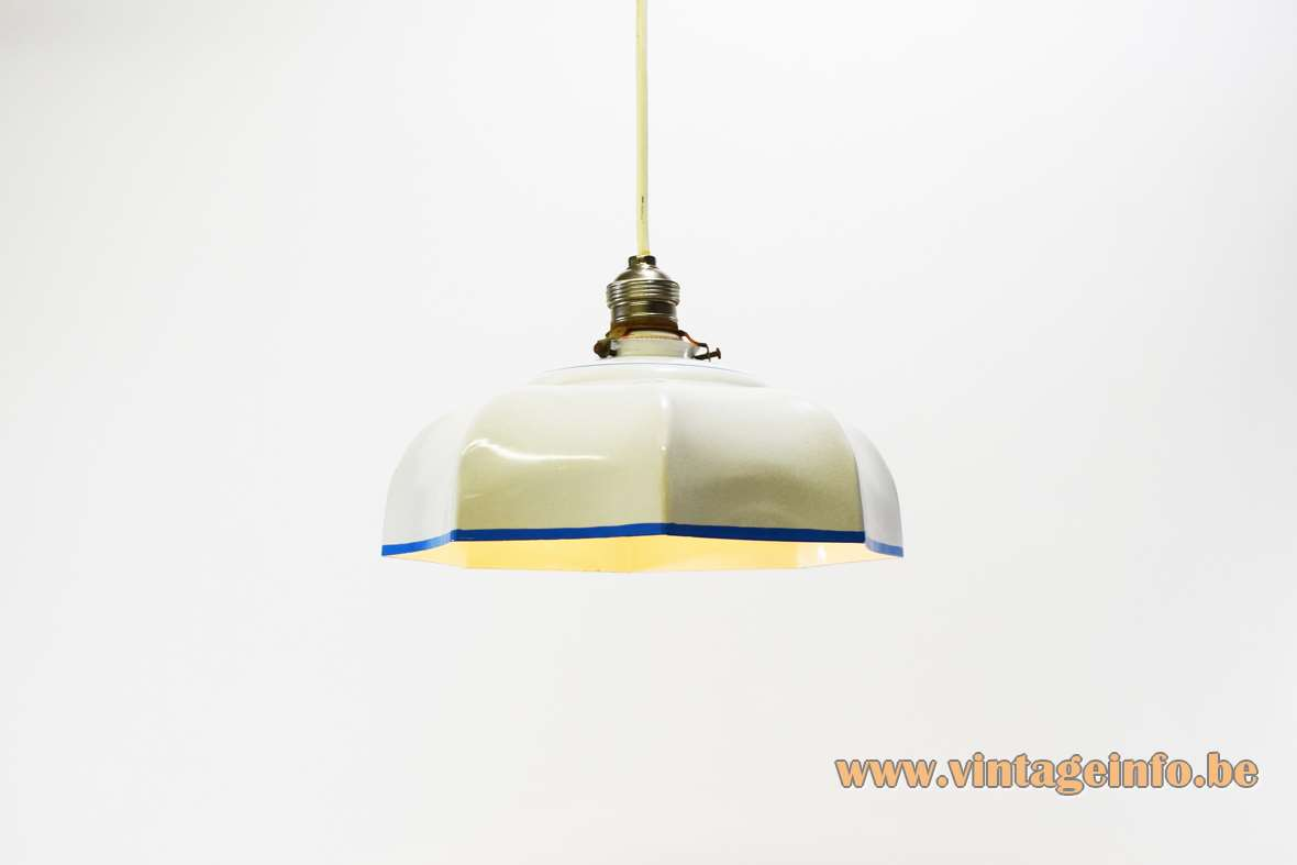 Blue & White Enamel Pendant Lamp