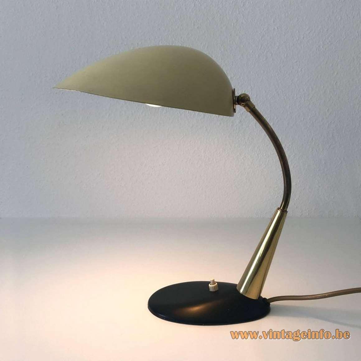 Cosack chrome gooseneck desk lamp 1950s 1960s cast iron base Gebrüder Cosack Gecos Gemany Mid-Century Modern MCM