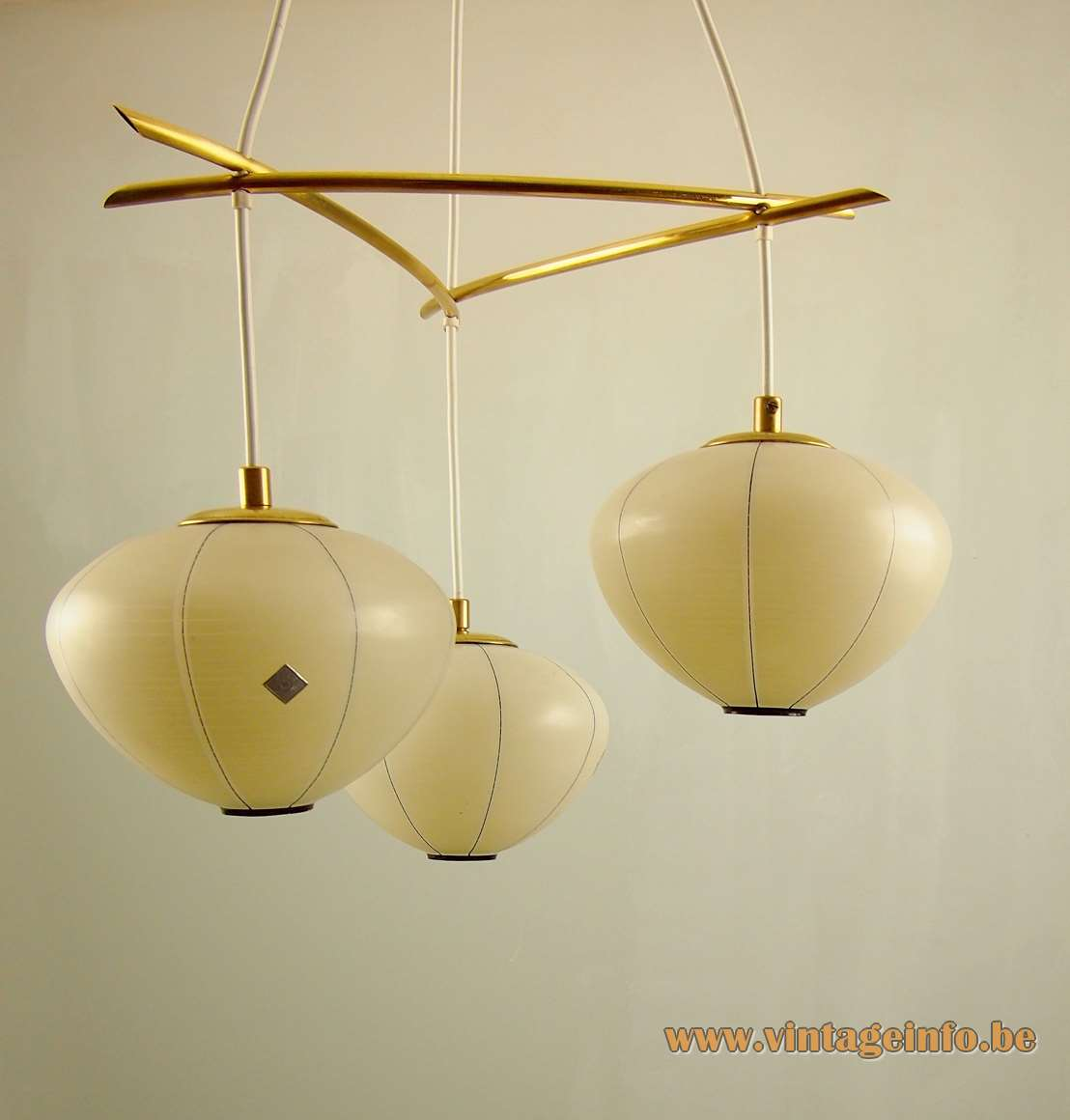 1960s DORIA lampion chandelier yellow amber glass lantern globes Mikado curved brass rods 1950s Germany