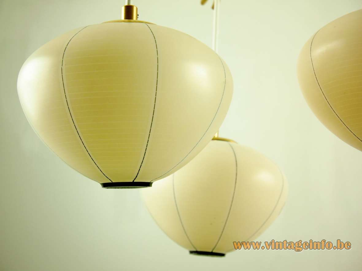 1950s 1960s DORIA lampion chandelier lantern yellow amber glass curved brass rods Mid-Century Modern MCM