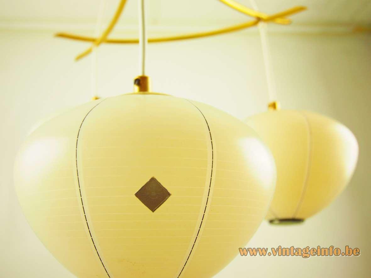 1960s DORIA lampion chandelier yellow amber glass lantern globes Mikado curved brass rods 1950s Germany label