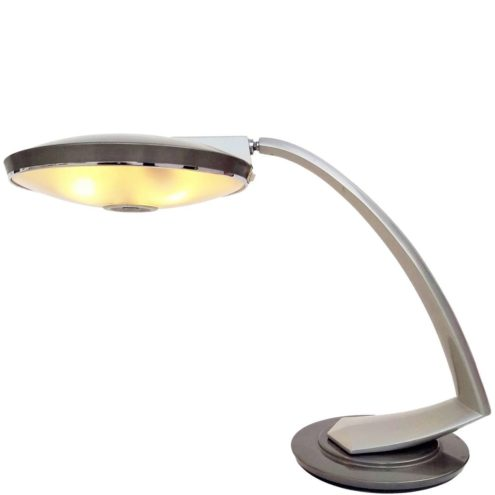 Fase Boomerang 2000 Desk Lamp UFO 1970s silver metalic painted metal round glass diffuser Spain MCM