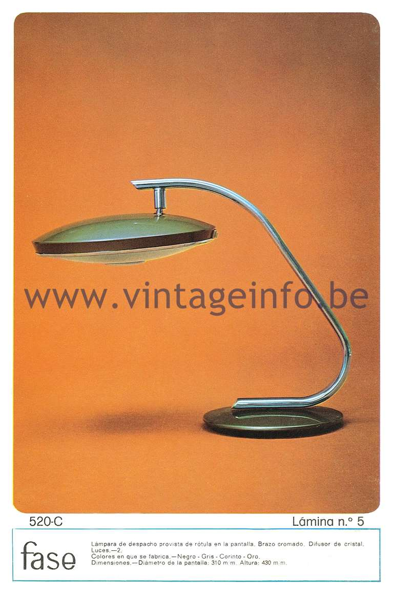 Fase Model 520 Desk Lamp - Catalogue 1974