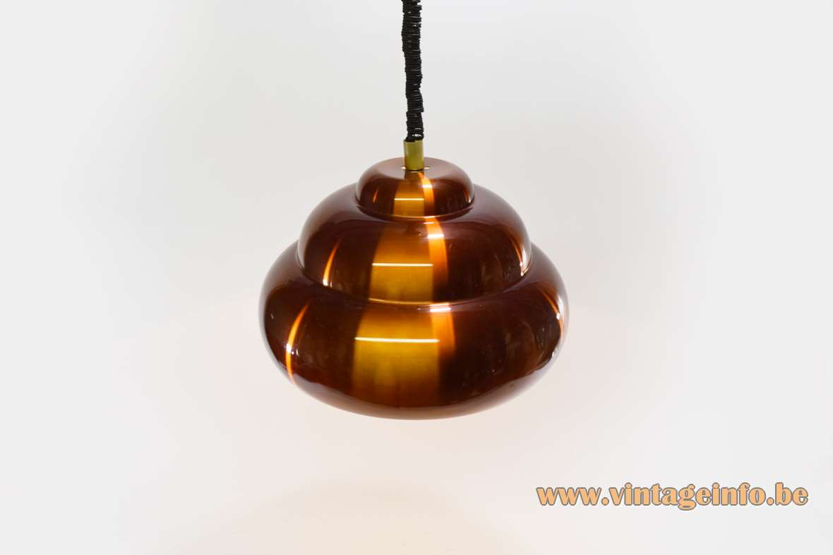 Fratelli Giannelli copper pendant lamp rise & fall mechanism Massive Belgium 1970s 1980s Mid-Century Modern MCM