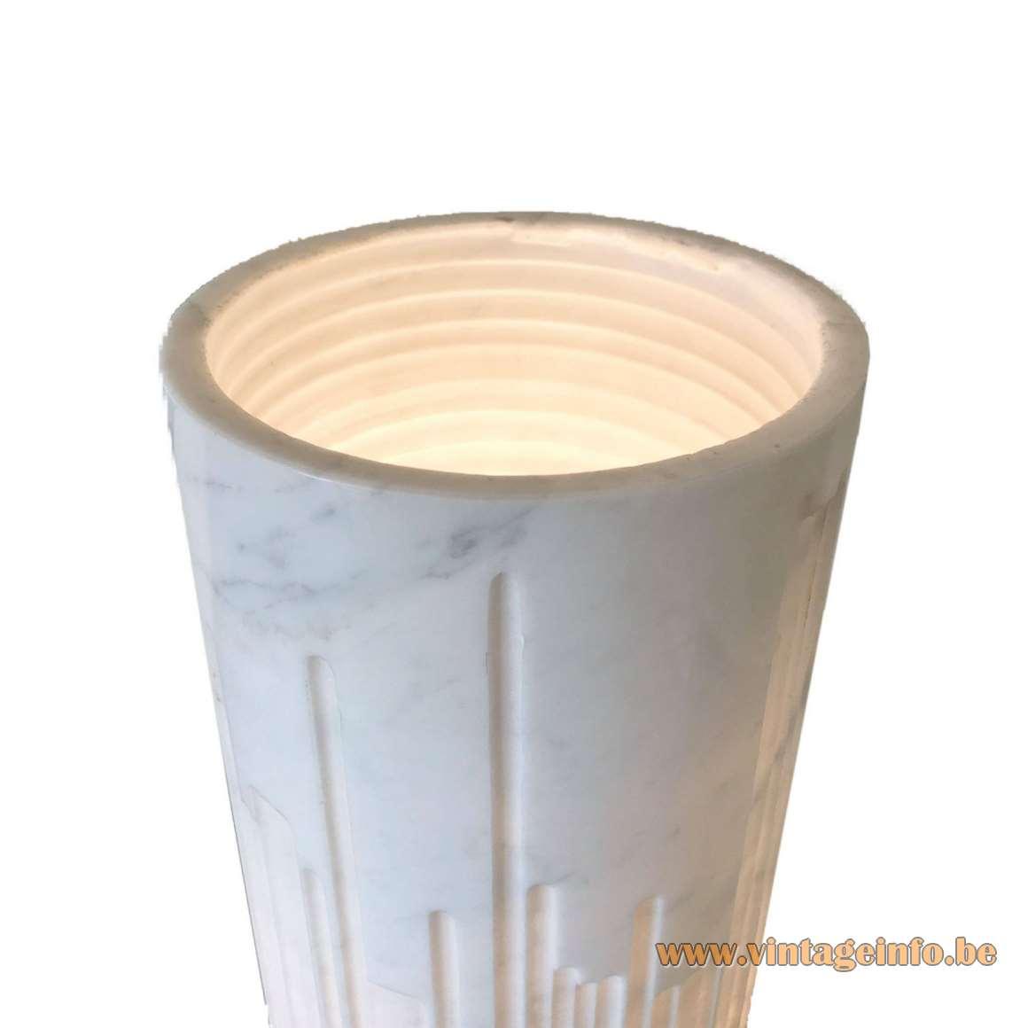 Grupo NP2 cylindrical marble table lamp calacatta carrara tube design: Nerone Ceccarelli Giancarlo Patuzzi 1960s 1970s