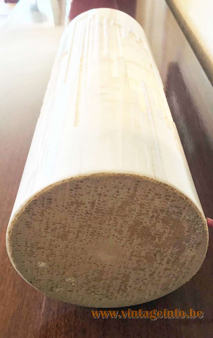 Grupo NP2 cylindrical marble table lamp calacatta carrara tube design: Nerone Ceccarelli Giancarlo Patuzzi 1960s bottom