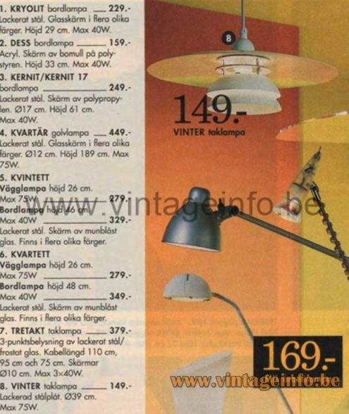 IKEA Vinter Pendant Lamp - 1996 Catalogue Picture