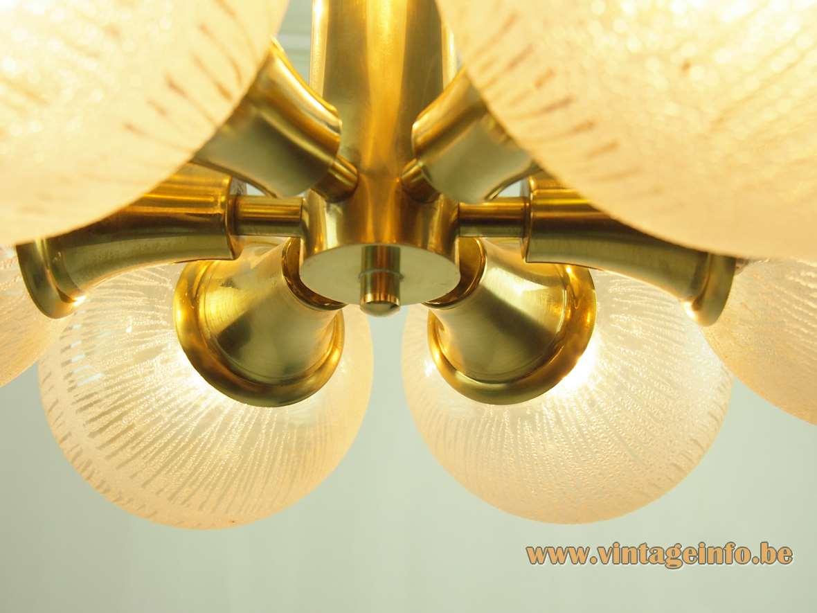Kaiser Leuchten 9 globes chandelier amber embossed glass brass rods conical tubes sputnik 1970s Germany
