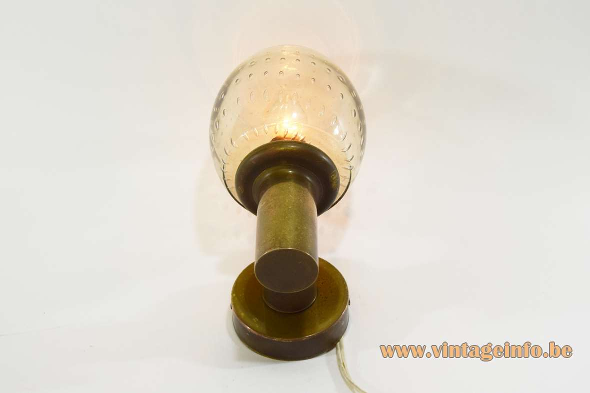 N Leuchten bullicante wall lamp brass smoked bubble glass Germany 1970s 1980s Mid-Century Modern MCM