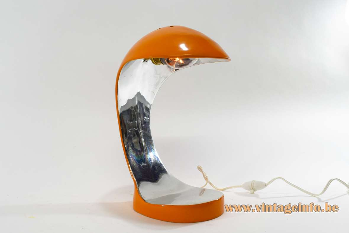 Orange Cobra table lamp orange and silver painted polyester perforated on top one off