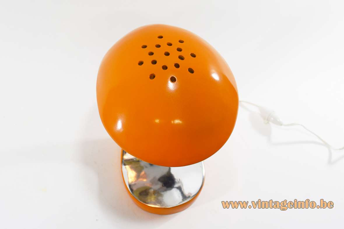 Orange Cobra table lamp orange and silver painted polyester perforated on top counterfeit fake 1970s 1980s MCM