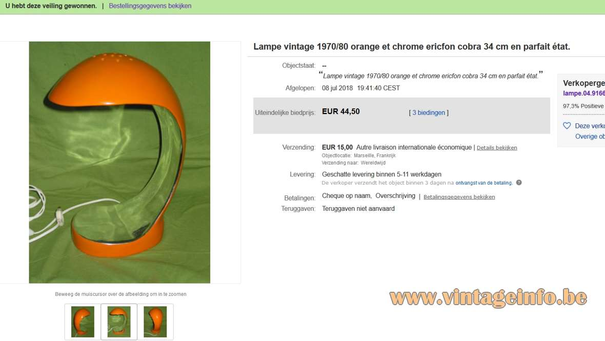 Orange Cobra Table Lamp - Ebay