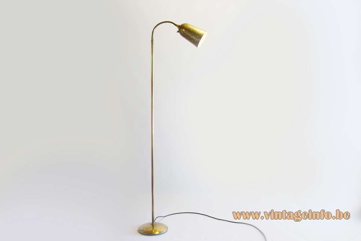 Paavo Tynell brass floor lamp round base perforated lampshade Oy Taito Ab Idman 1940s 1950s MCM