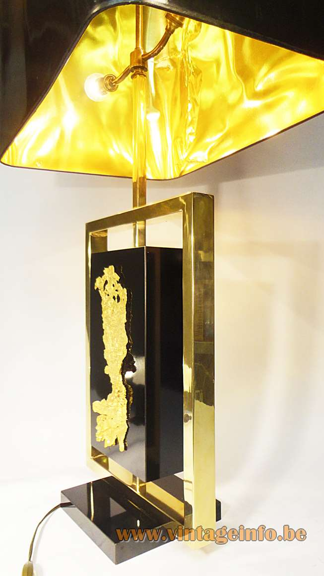 Philippe Cheverny, Gold, 1970s table lamp, France, brass, black wood, bio, postiche stream-gold, Hollywood Regency