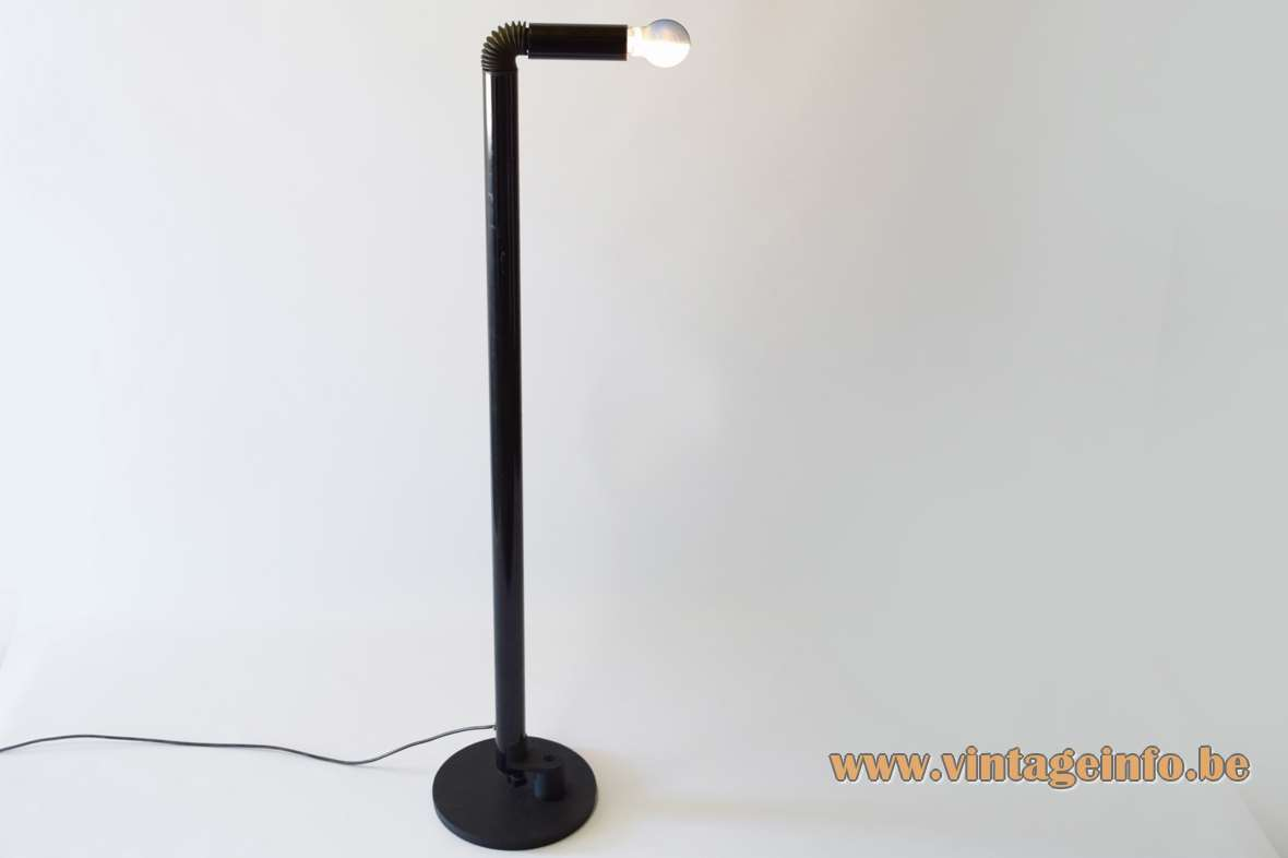Stilnovo Periscopio floor lamp design: Danilo & Corrado Aroldi black aluminium foldable tubes rubber hose 1960s 1970s