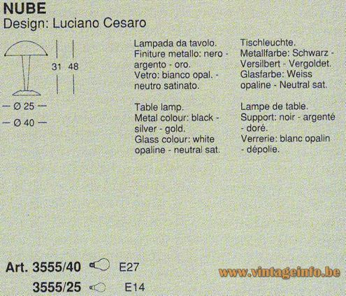 Tre Ci Luce Nube Table Lamp - 1990s Design: Luciano Cesaro - Catalogue Picture - Dimensions