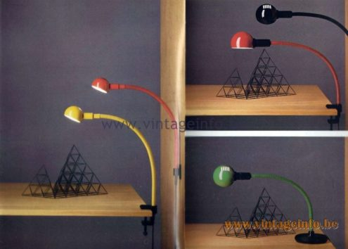 Valenti Hebi Lamps - Catalogue 1983 Design: Isao Hosoe 1969 Plastic PVC 1970s flexible tube gooseneck