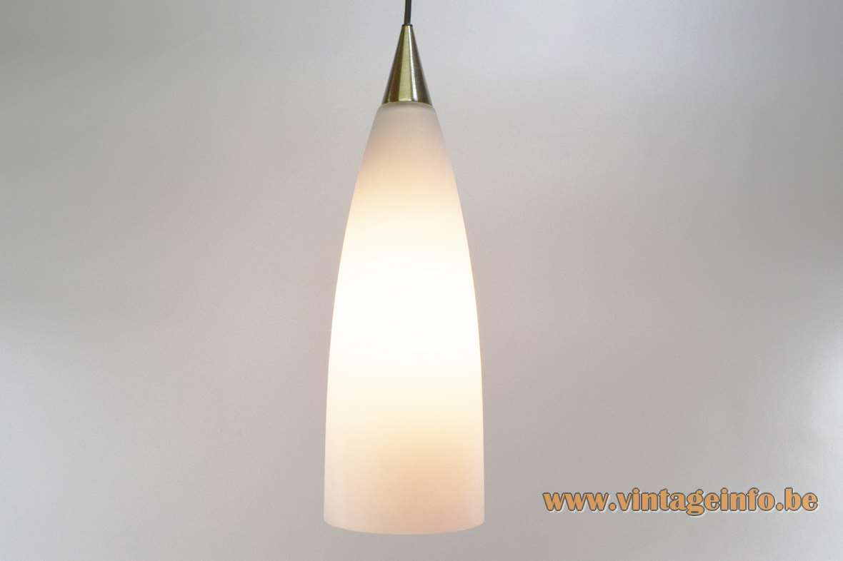 Vetreria Vistosi Fedra pendant lamp conical frosted opal glass Designer: Monica Agnolazza Murano Italy 1990s