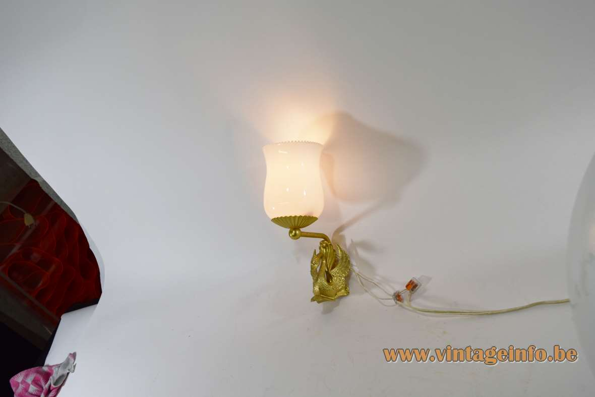1950s Empire style brass swan wall lamp moulded white opal tulip glass diffuser lampshade 1960s kitsch Hollywood Regency