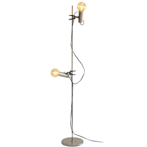 1960s Clamp Floor Lamp chrome round base & rod 2 clamp lights 1960s 1970s Targetti Sankey Italy MCM