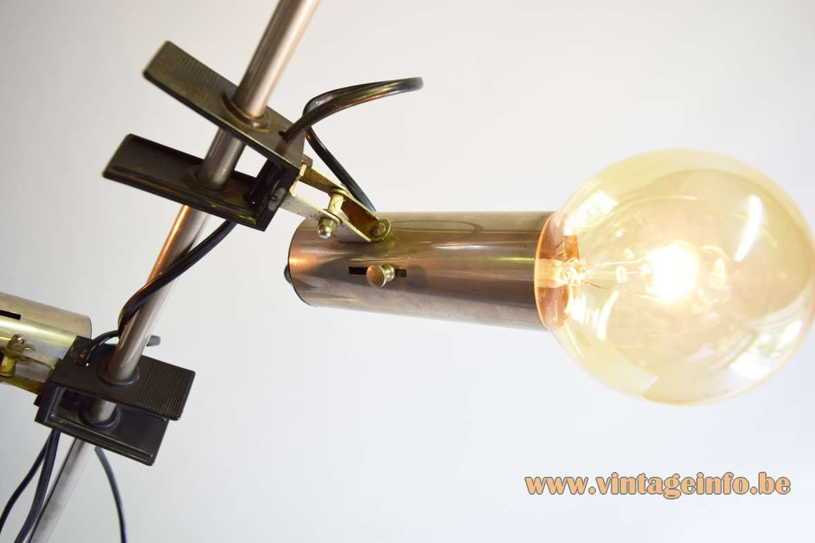1960s clamp floor lamp chrome round base rod tubes globe light bulbs 1970s Targetti Sankey Italy
