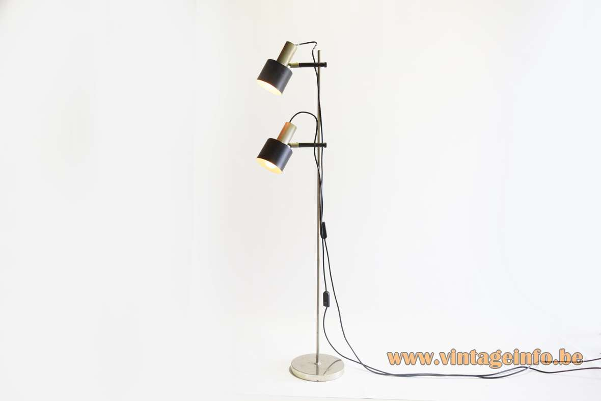 1960s nickel-plated floor lamp round base chrome black rods 2 E27 lamp sockets 1970s Mid-Century Modern