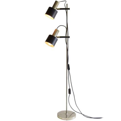 1960s nickel-plated floor lamp round base chrome black rods 2 lamps E27 sockets 1970s MCM Mid-Century Modern