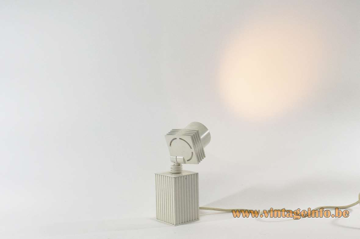 1980s white beam-shaped picture lamp rectangular metal block cooling fins style cast aluminium 1990s