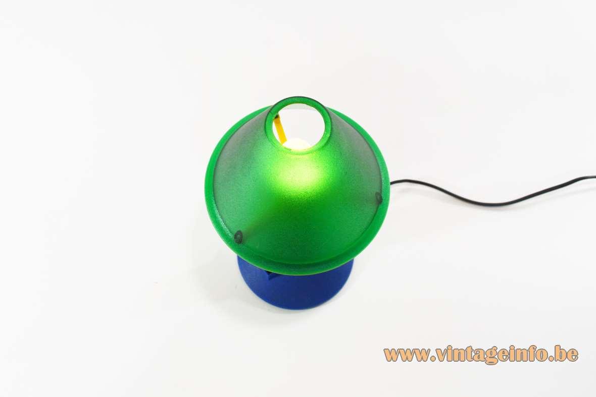 1990s Lampada T. table lamp moulded conical plastic yellow green blue Veneta Lumi Italy Philippe Starck