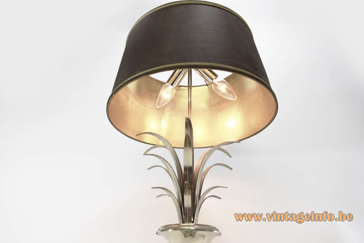 Boulanger chrome reed table lamp palm urn square base round fabric lampshade 1960s 1970s Hollywood Regency Vase Roseaux