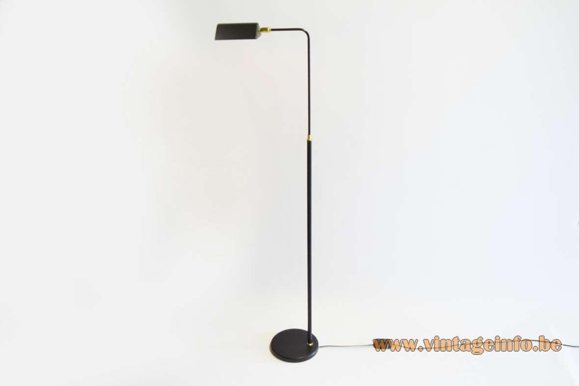 S.A. Boulanger black reading floor lamp metal curved rod round base 1970s 1980s BeLgium E14 lamp socket MCM Mid-Century Modern