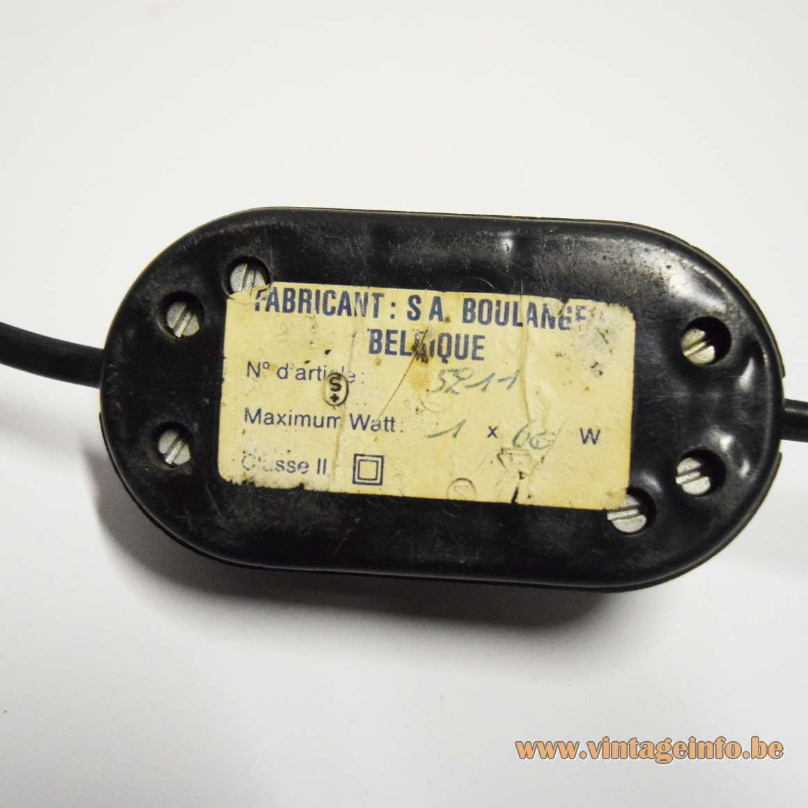 S.A. Boulanger black reading floor lamp - VLM Components D-661 switch - S.A. Boulanger label