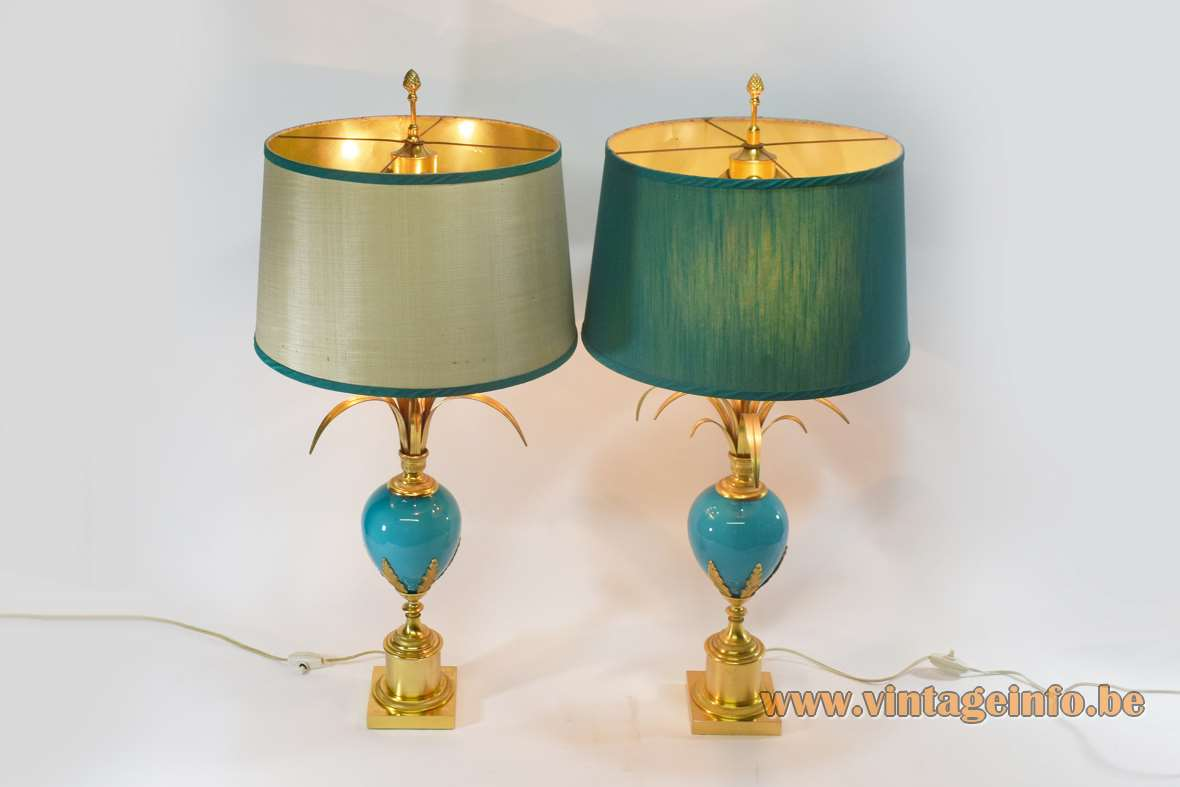 S.A. Boulanger turquoise ostrich egg table lamp blue/green sapphire reeds palm 1960s 1970s Hollywood Regency