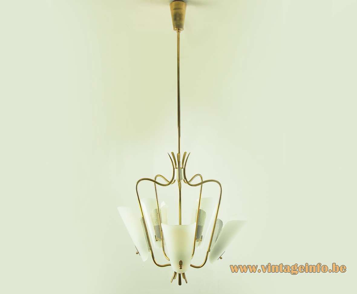Brass & Acrylic Perforated 1950s Chandelier