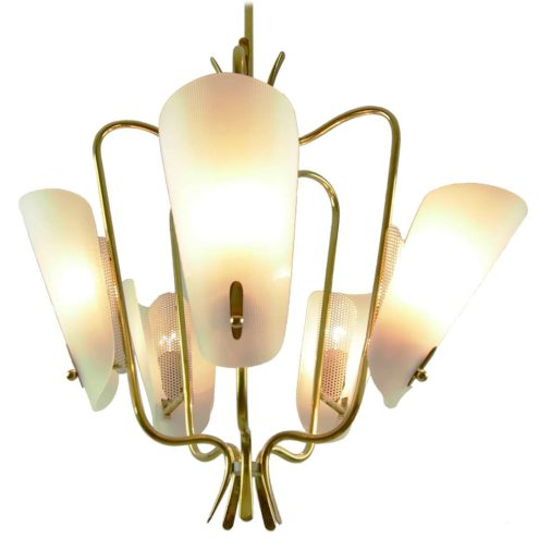 Brass & acrylic perforated 1950s chandelier curved brass rods white acrylic diffusers 1960s Germany Gebrüder Cosack Rupert Nikoll