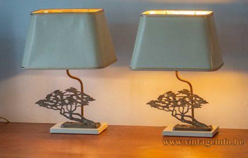 Bronze Bonsai Table Lamp - White Version, Massive, Belgium